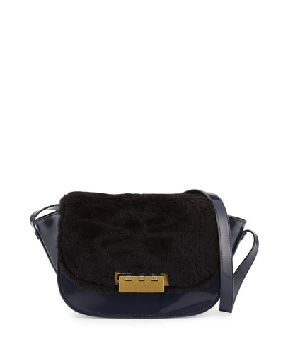 Eartha Leather & Shearling Crossbody Bag, Midnight/Black