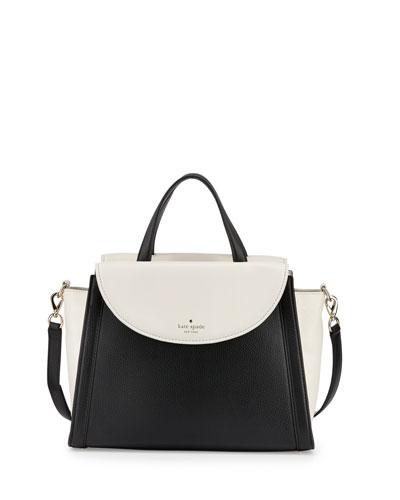 cobble hill adrien satchel bag, cement/black