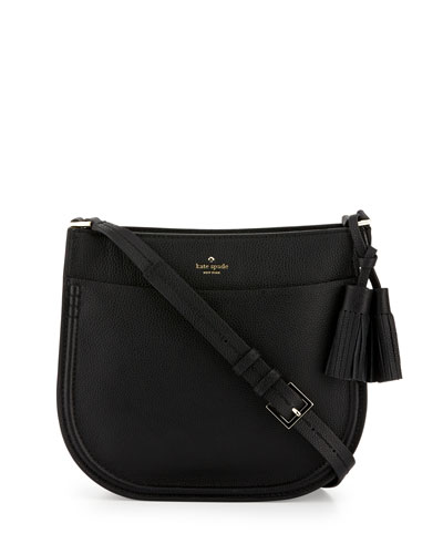 orchard st. hemsley leather crossbody bag, black/cream