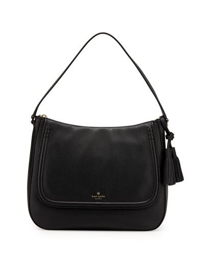 orchard st. treana leather shoulder bag, black/cream