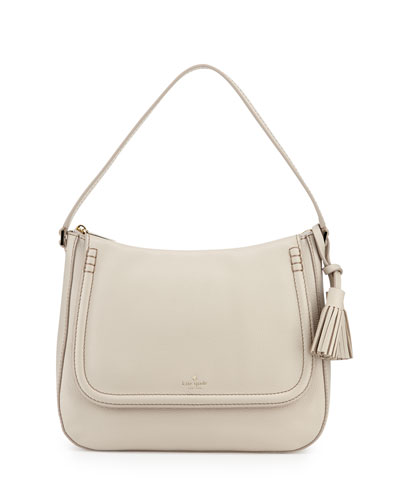 orchard st. treana leather shoulder bag, crisp linen