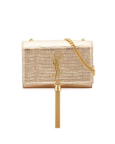 Monogram Snake-Embossed Small Tassel Crossbody Bag, Gold