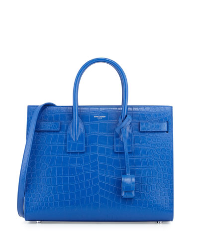 Sac de Jour Small Crocodile-Embossed Satchel Bag, Royal Blue