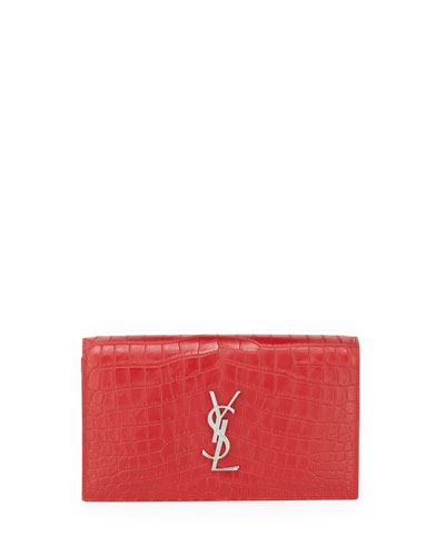 Croc-Embossed Leather Clutch Bag, Rouge Red