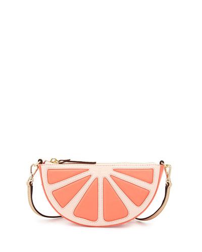 grapefruit leather crossbody bag, coral sunset
