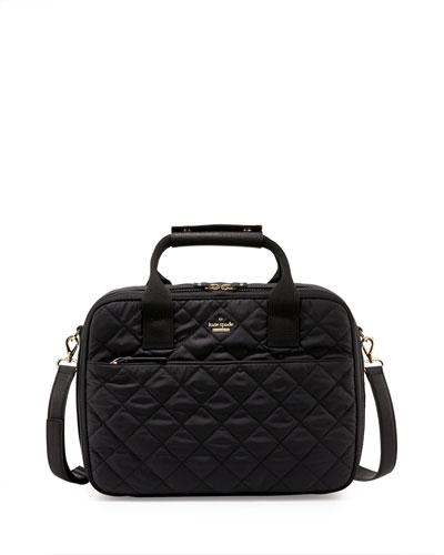 ridge st. scottie quilted travel tote bag, black