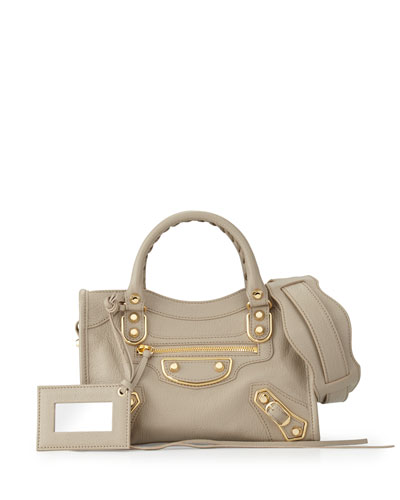 Edge City Mini Goatskin Satchel Bag, Taupe
