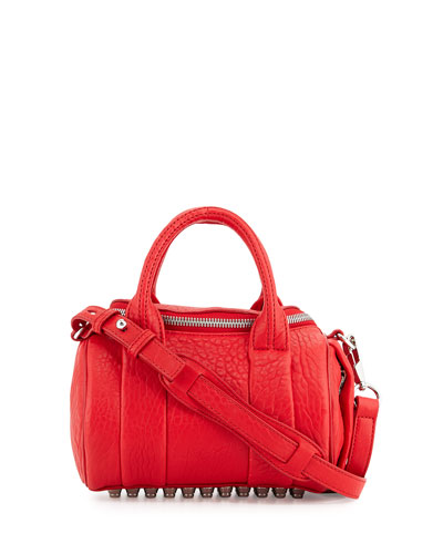 Mini Rockie Leather Satchel Bag, Red
