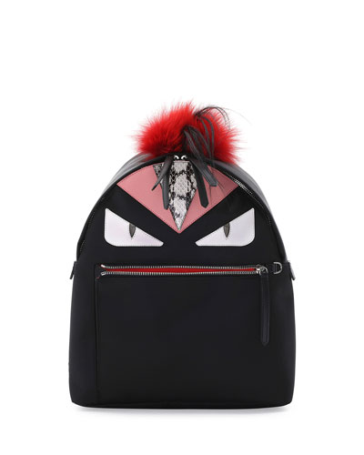 Monster Fur Mohawk Backpack, Black Multi