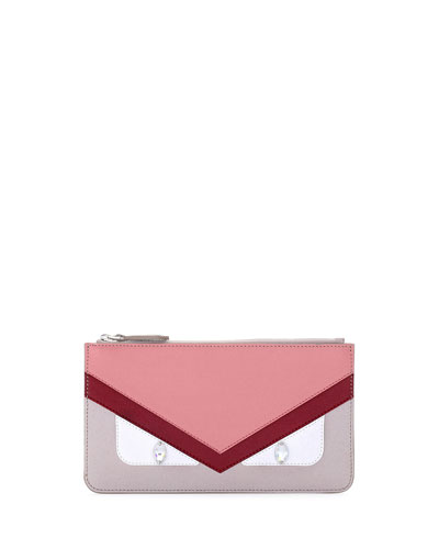 Monster Eye Colorblock Leather Pouch Bag, Red/Pink/Taupe