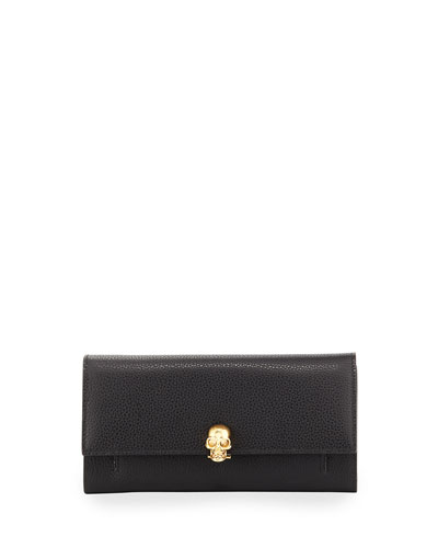 Leather Flap Wallet on Chain, Black