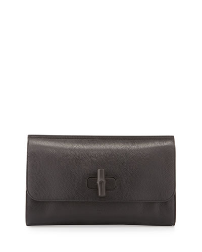Bamboo Daily Leather Clutch Bag, Black