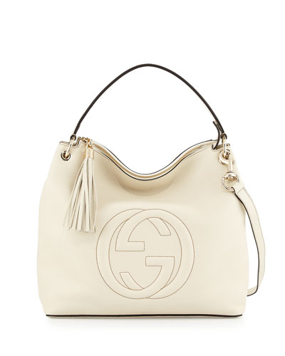 Soho Large Leather Hobo Bag, Mystic White