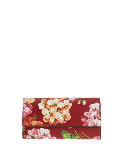 Flap-Front Blooms Continental Wallet, Cerise Red/Multi