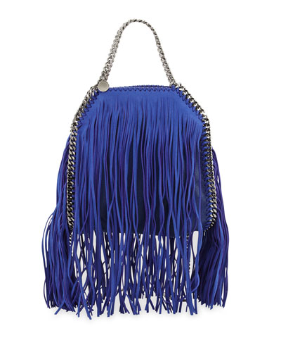 Falabella Mini Fringe Tote Bag, Blue Bird