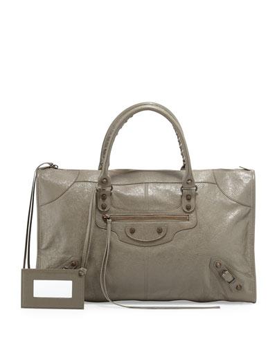 Classic Work Lambskin Tote Bag, Beige