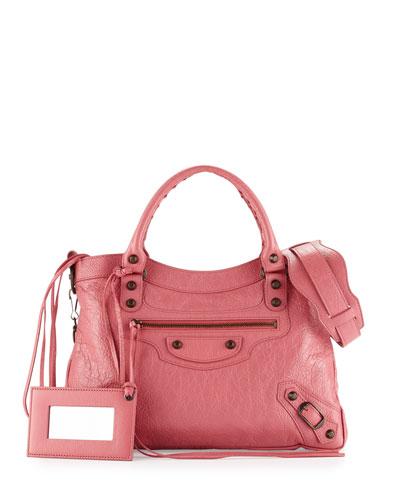 Classic Town Lambskin Tote Bag, Rose