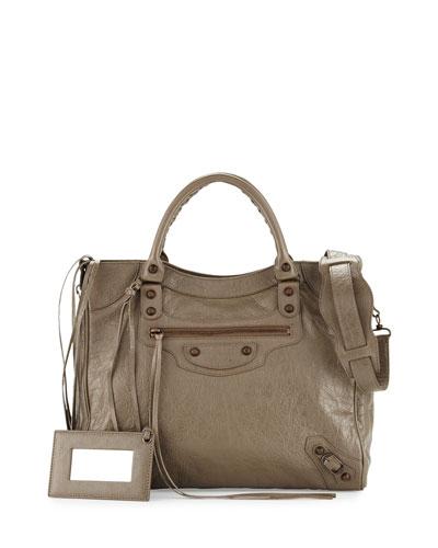 Classic Velo Lambskin Crossbody Bag, Beige