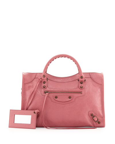 Classic City Lambskin Tote Bag, Rose