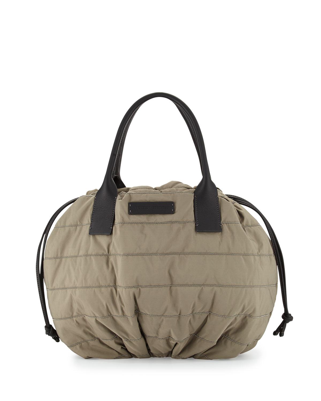 Puffer Drawstring Tote Bag w/Monili Trim, Green Tea