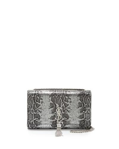 Snake-Embossed Medium Crossbody Bag, Silver/Black