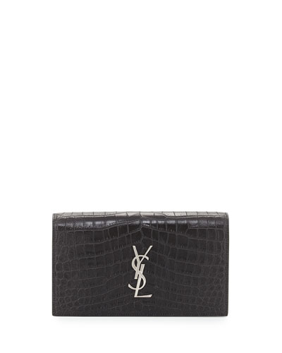 Croc-Embossed Leather Clutch Bag, Black