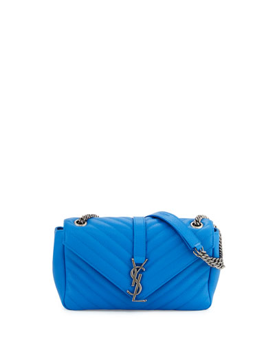 Monogram Small Leather Flap Shoulder Bag, Blue