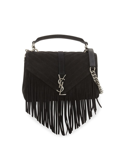 Monogram Fringe College Suede Shoulder Bag, Black
