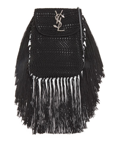 Anita Fringe Crochet Leather Small Crossbody Bag, Black
