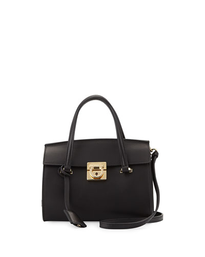 Mara Lock Story Mini Crossbody Bag, Nero