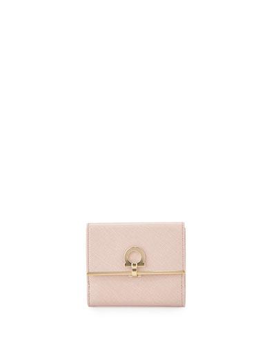 Gancio Clasp Saffiano French Wallet, Bonbon