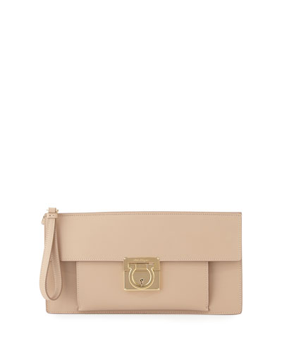 Ada Lock Story Clutch Bag, New Bisque