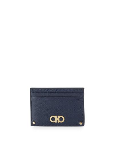Gancini Icona Saffiano Card Case, Oxford Blue