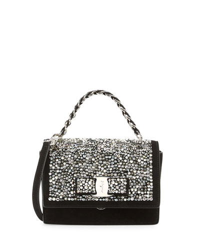 Ginny Vara Crystal Crossbody Bag, Nero