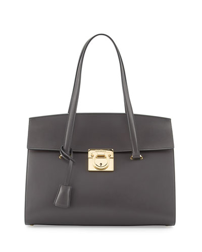 Mara Lock Story Medium Satchel Bag, Fumee
