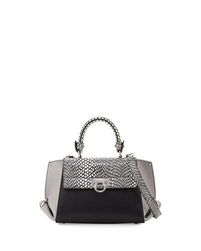 Sofia Mediterraneo Lux Small Satchel Bag, Fumee/Gris/Nero