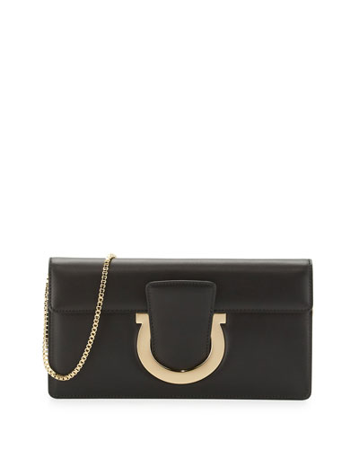 Thalia Cocktail Leather Clutch Bag, Nero