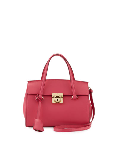 Mara Lock Story Mini Satchel Bag, Framboise