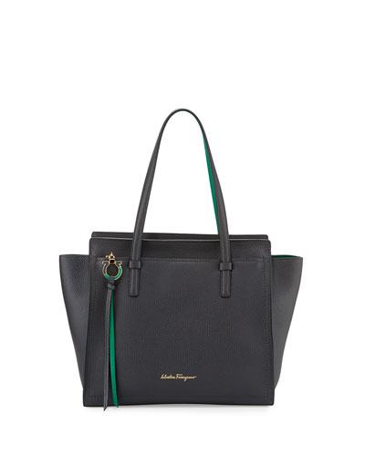 Amy Medium Gancio Leather Tote Bag, Fumee/Emeraude