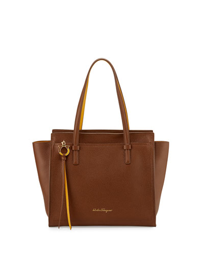 Amy Medium Gancio Leather Tote Bag, Ecorce/Pollen
