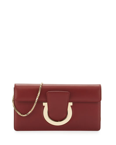 Thalia Cocktail Leather Clutch Bag, Opera