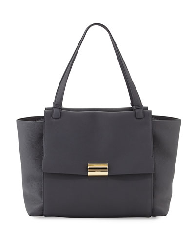 Bitter Large Gancio Leather Tote Bag, Fumee