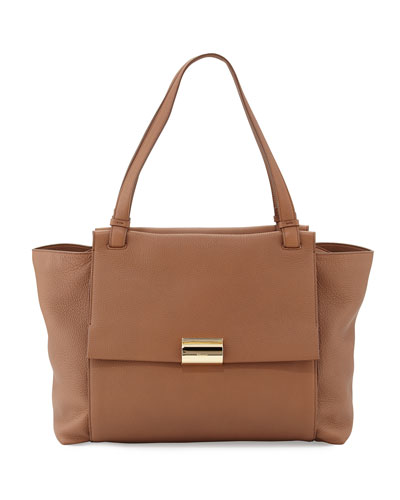 Bitter Large Gancio Leather Tote Bag, Ecorce
