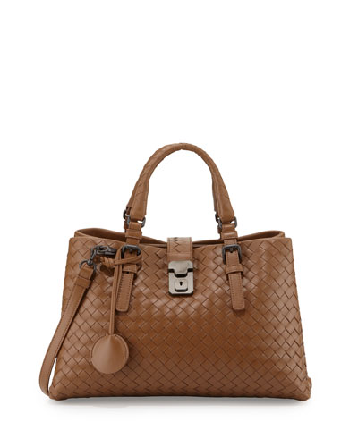 Roma Mini East-West Leather Tote Bag, Dark Brown