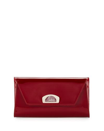 Vero Flap Patent Clutch Bag, Red