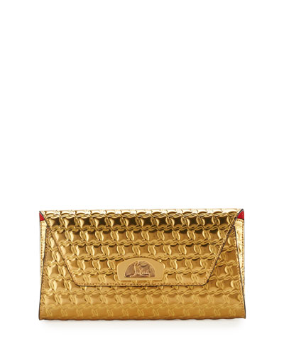 Vero Houndstooth-Embossed Clutch Bag