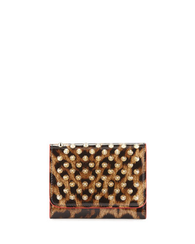 Macaron Mini Patent Spiked Flap Wallet, Leopard