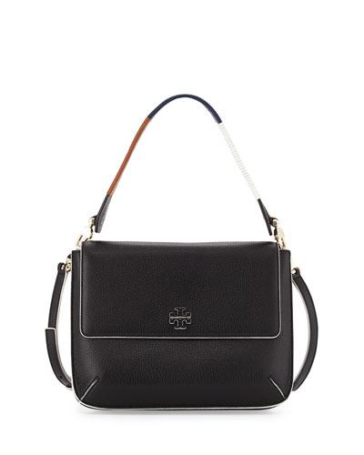 Berkeley Leather Messenger Bag, Black/White