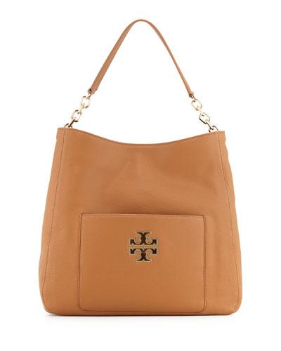Britten Leather Hobo Bag, Bark