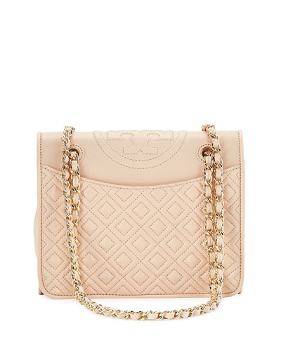 Fleming Medium Quilted Shoulder Bag, Pale Apricot